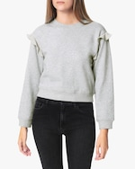 Joe's Jeans Chiffon-Frill Bishop-Sleeve Sweatshirt 0