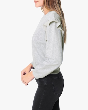 Joe's Jeans Chiffon-Frill Bishop-Sleeve Sweatshirt 2