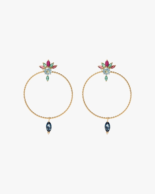 Carolina Neves Diamond & Gemstone Drop Hoop Earrings 0