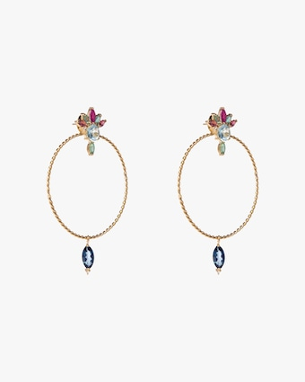 Carolina Neves Diamond & Gemstone Drop Hoop Earrings 2
