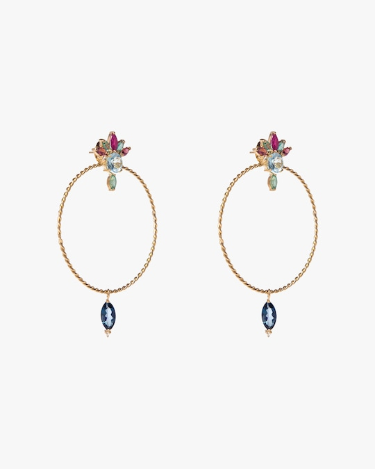 Carolina Neves Diamond & Gemstone Drop Hoop Earrings 1