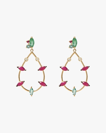 Carolina Neves Gemstone & Diamond Teardrop Earrings 1