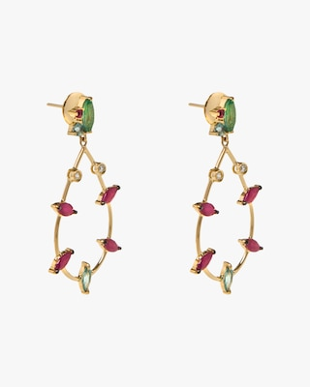 Carolina Neves Gemstone & Diamond Teardrop Earrings 2