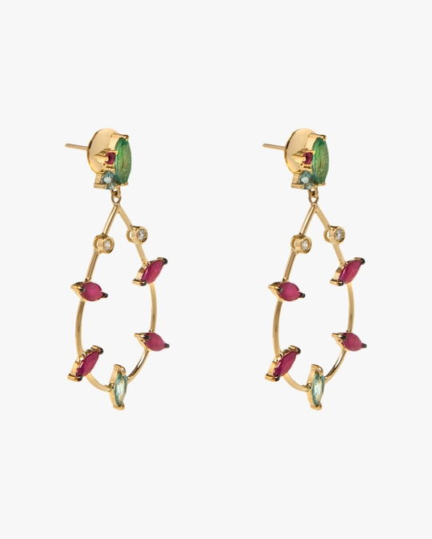 Carolina Neves Gemstone & Diamond Teardrop Earrings 1