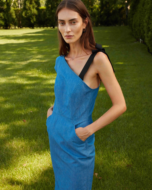 Arias New York Ribbon Strap One-Shoulder Dress 2