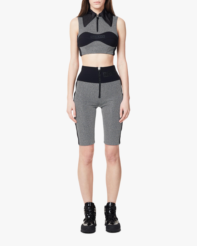NO KA'OI Damier Zip-Up Biker Shorts 1