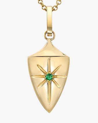 DRU. Emerald Shield Pendant Necklace 2