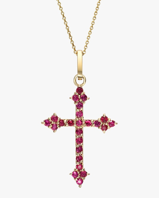 DRU. Ruby Gothic Cross Pendant Necklace 0