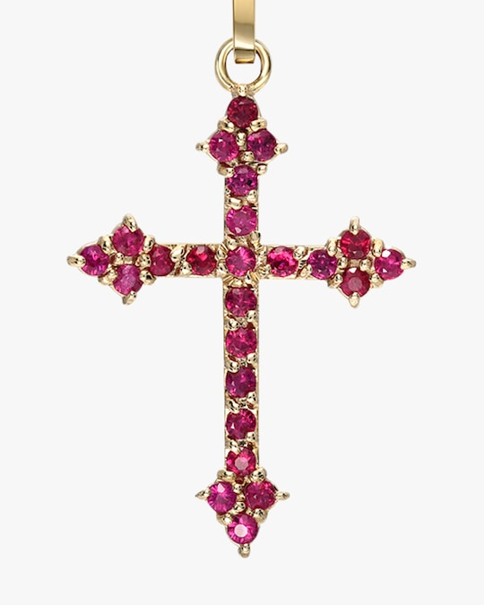 DRU. Ruby Gothic Cross Pendant Necklace 1