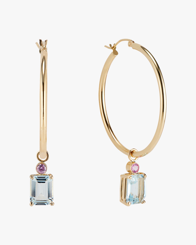 DRU. Aquamarine & Pink Sapphire Hoop Earrings 1