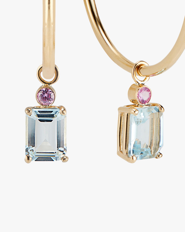 DRU. Aquamarine & Pink Sapphire Hoop Earrings 2