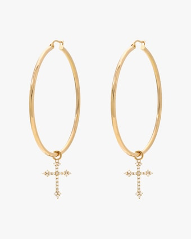 DRU. Diamond Cross Hoop Earrings 1