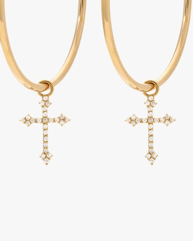 DRU. Diamond Cross Hoop Earrings 2