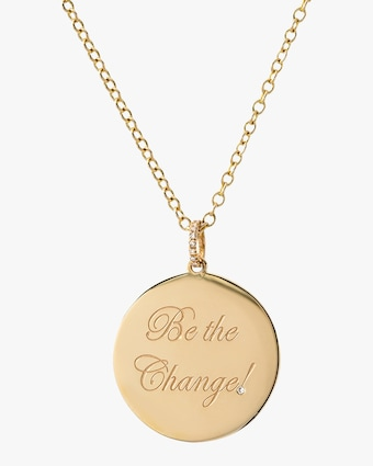 DRU. Diamond 'Be the Change' Medallion Pendant Necklace 1