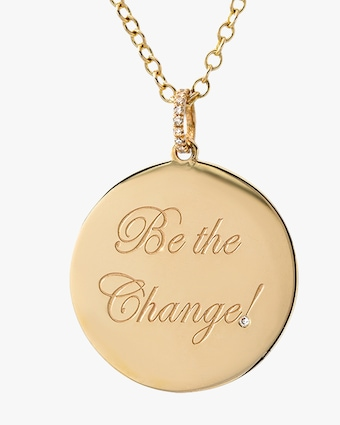 DRU. Diamond 'Be the Change' Medallion Pendant Necklace 2
