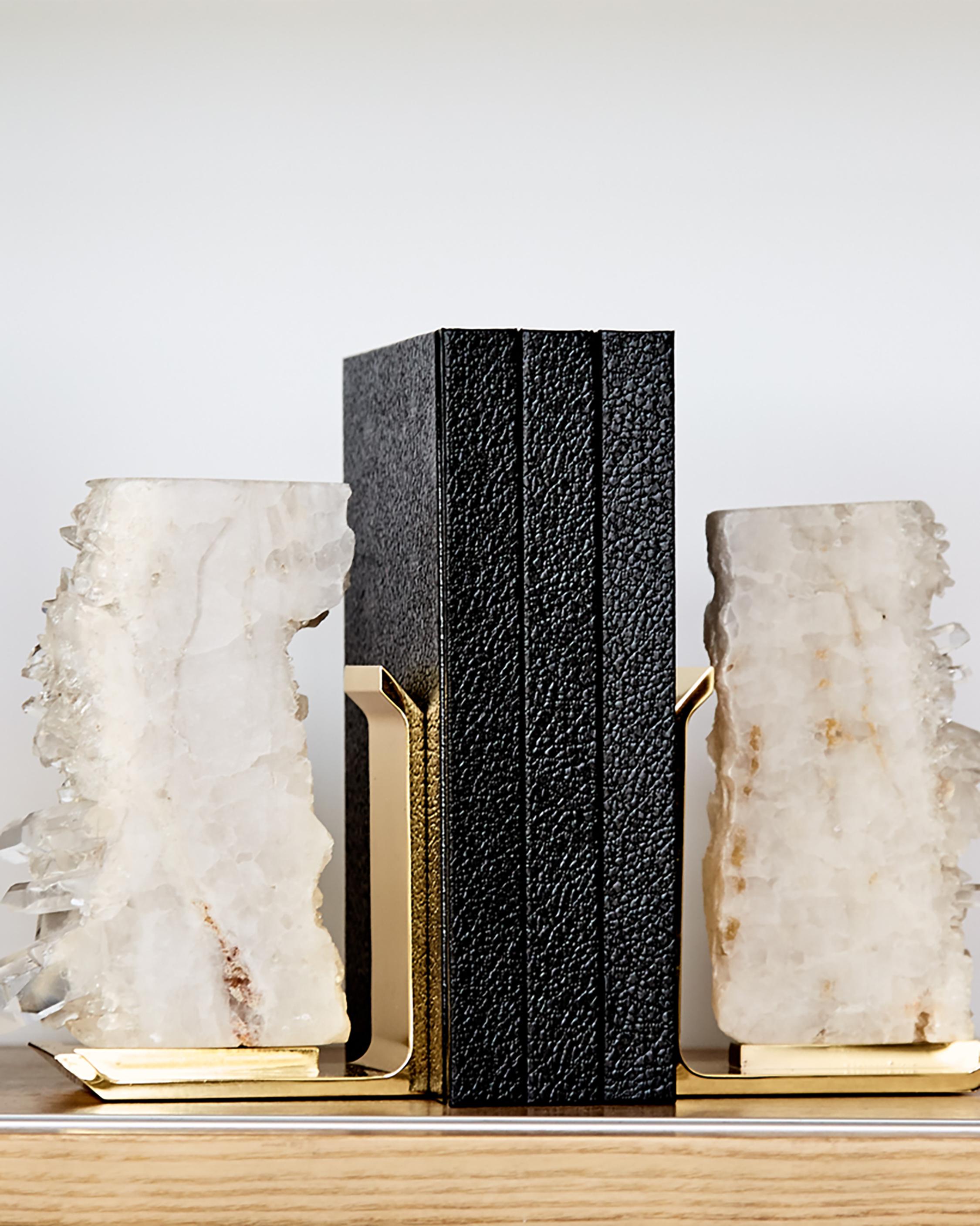 ANNA New York FIM Crystal Quartz Bookends 1