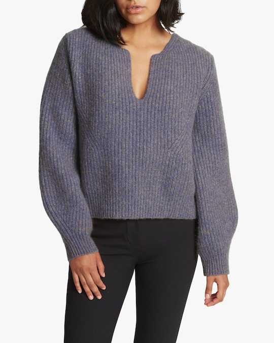 Santicler Milano Notched Hi-Low Cashmere Pullover 0