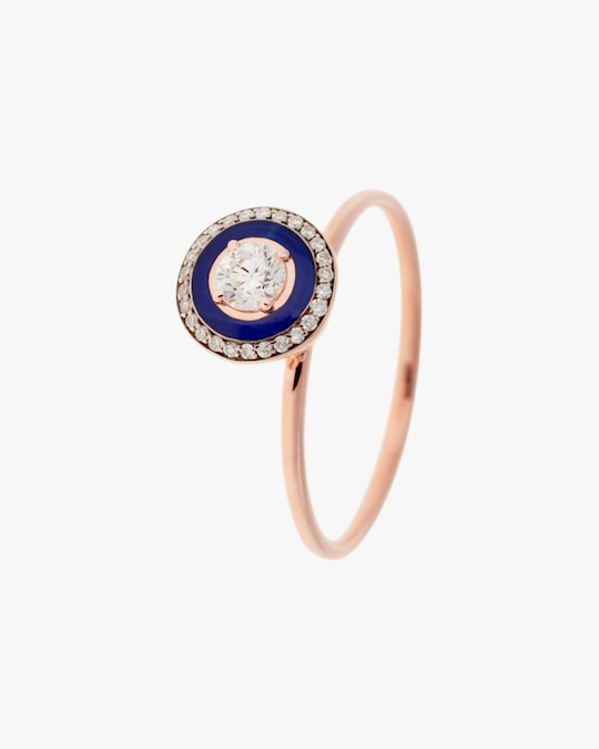 Selim Mouzannar Navy Enamel & Diamond Ring 0