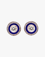 Selim Mouzannar Navy Enamel & Diamond Stud Earrings 0