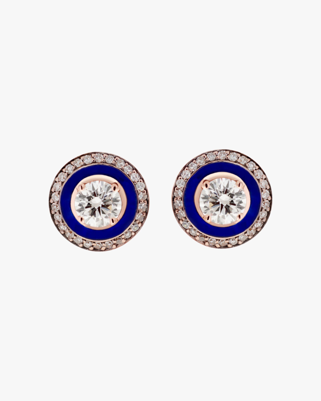 Selim Mouzannar Navy Enamel & Diamond Stud Earrings 1