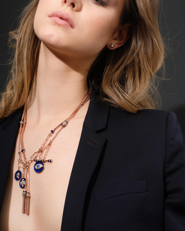 Selim Mouzannar Navy Enamel & Diamond Stud Earrings 2