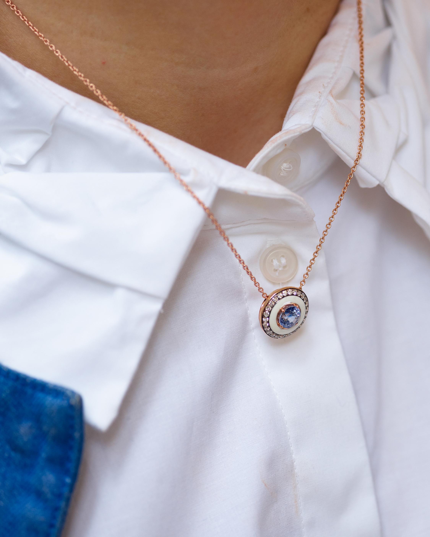 Selim Mouzannar Navy Enamel & Diamond Pendant Necklace 2