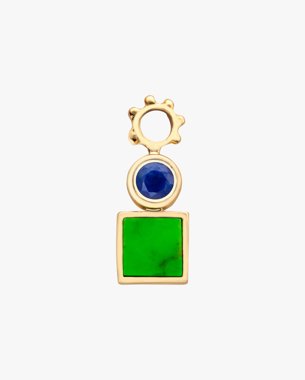 Gaya Square Green Turquoise Hoop Charm 1