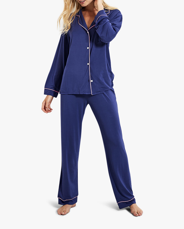 Stripe & Stare Navy Long Pajama Set 1