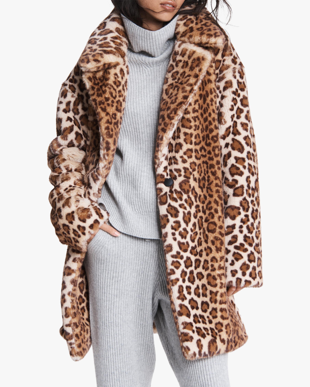 rag & bone Emma Leopard Faux Fur Coat 0