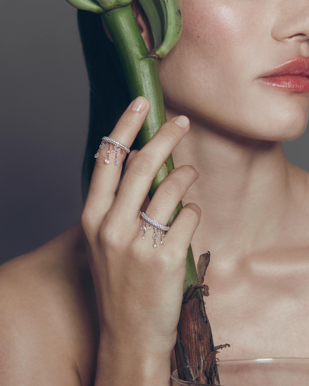 Graziela Gems Rose Gold Floating Diamond Ring 1