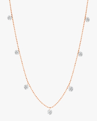 Graziela Gems Small Rose Gold Floating Diamond Necklace 1