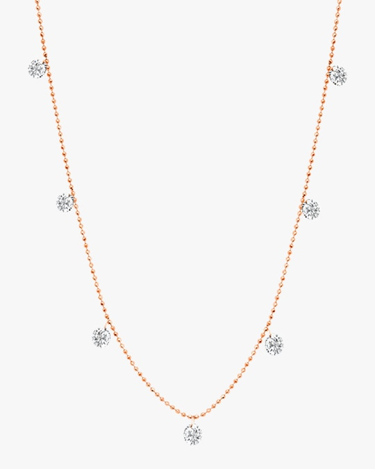 Graziela Gems Small Rose Gold Floating Diamond Necklace 0