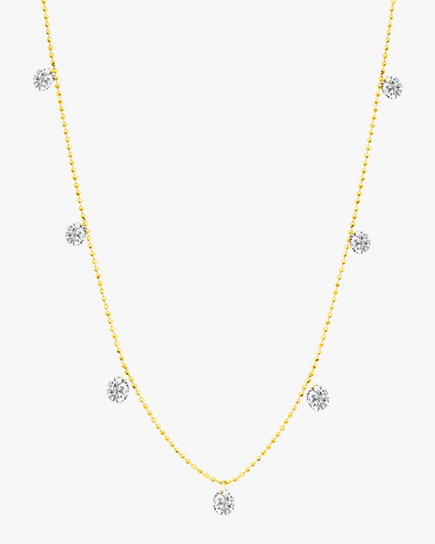 Graziela Gems Small Yellow Gold Floating Diamond Necklace 1