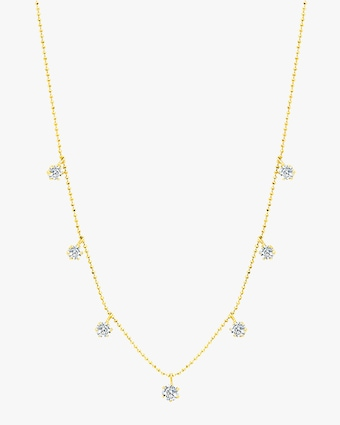 Graziela Gems Medium Yellow Gold Floating Diamond Necklace 1