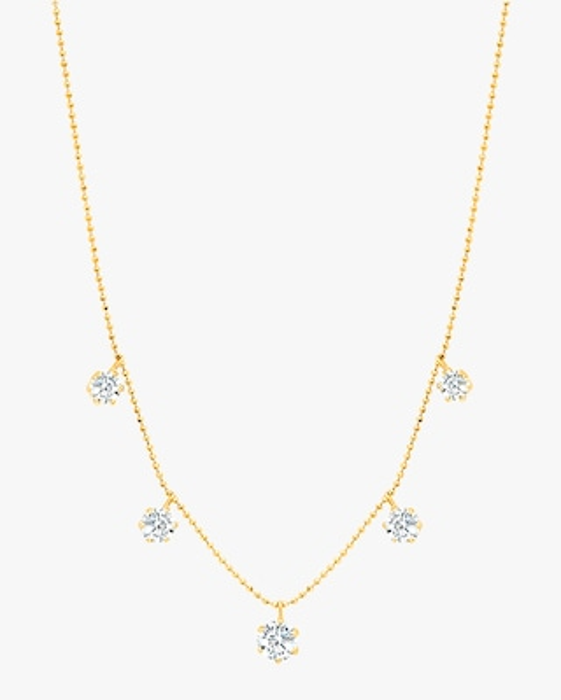 Graziela Gems Large Yellow Gold Floating Diamond Necklace 1