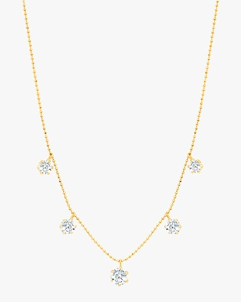 Graziela Gems Large Yellow Gold Floating Diamond Necklace 1