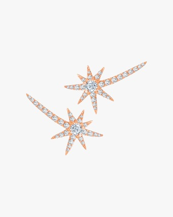 Graziela Gems Rose Gold Shooting Starburst Stud Earrings 1