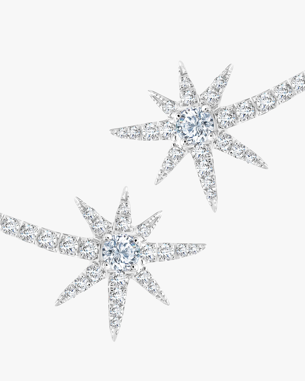 Graziela Gems White Gold Shooting Starburst Stud Earrings 1