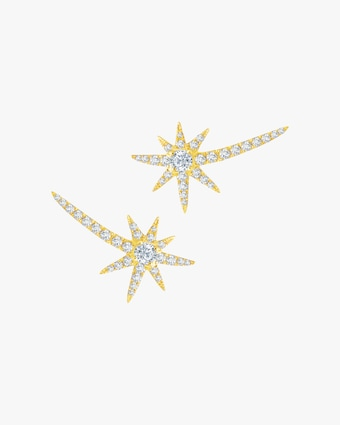 Graziela Gems Yellow Gold Shooting Starburst Stud Earrings 1
