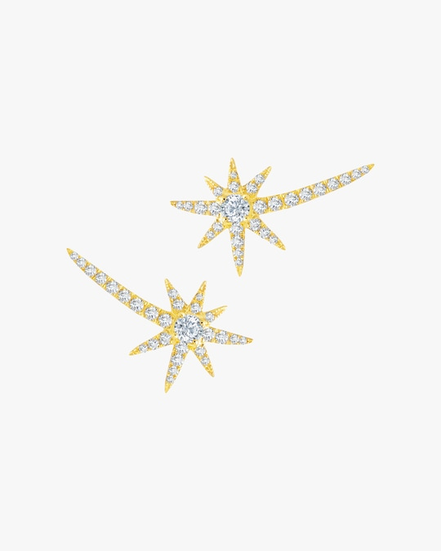 Graziela Gems Yellow Gold Shooting Starburst Stud Earrings 0