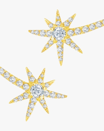 Graziela Gems Yellow Gold Shooting Starburst Stud Earrings 2