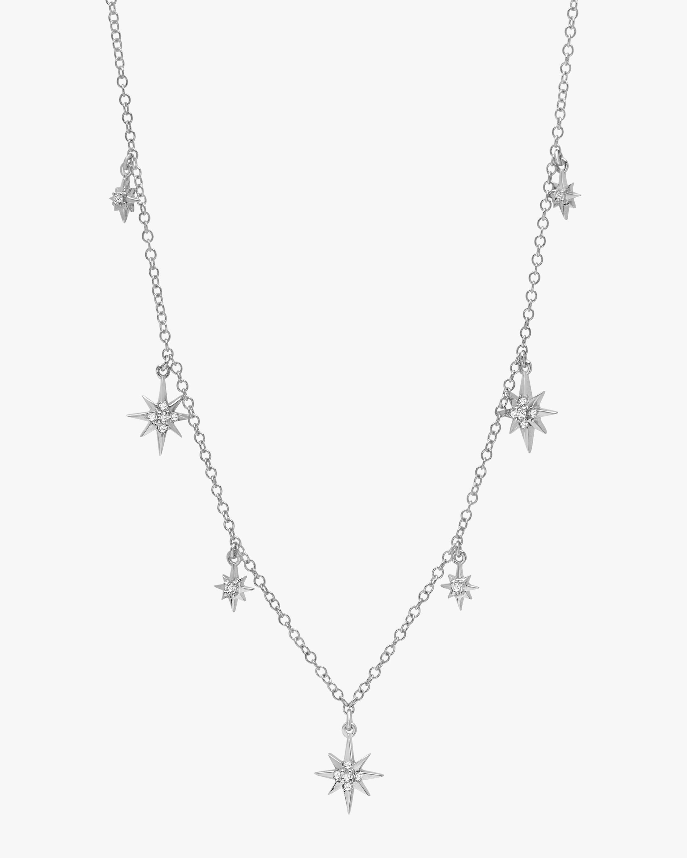 White Gold Starburst Station Necklace