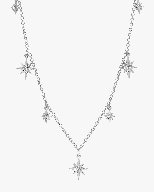 Graziela Gems White Gold Starburst Station Necklace 2