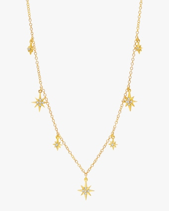 Graziela Gems Yellow Gold Starburst Station Necklace 1
