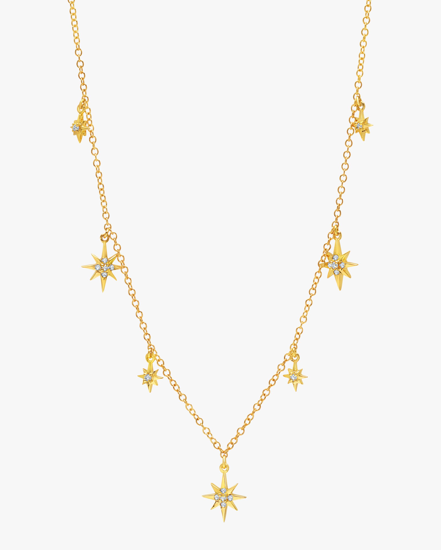 Graziela Gems Yellow Gold Starburst Station Necklace 1
