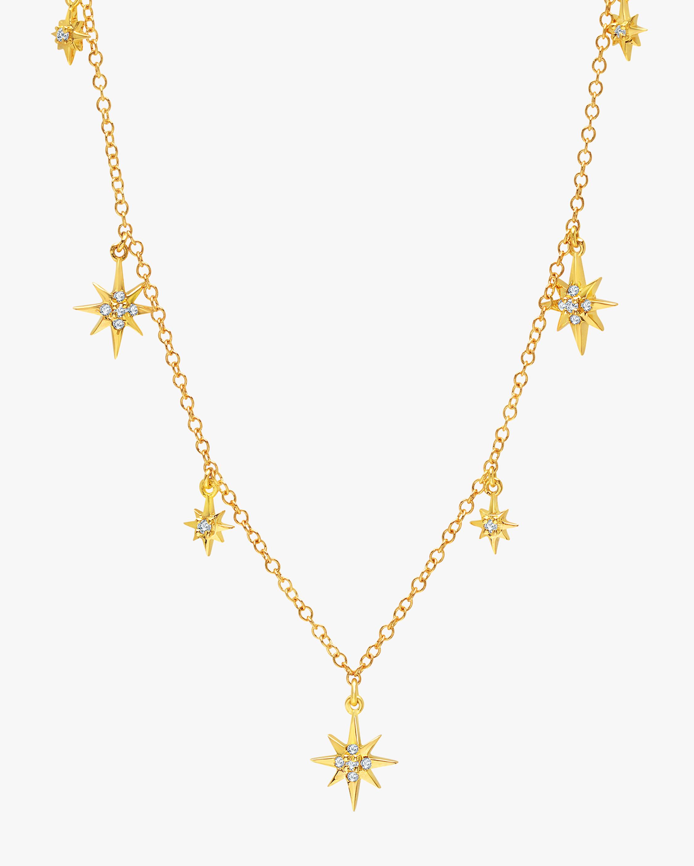 Graziela Gems Yellow Gold Starburst Station Necklace 2