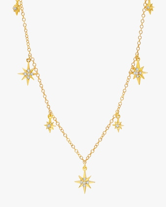Graziela Gems Yellow Gold Starburst Station Necklace 2
