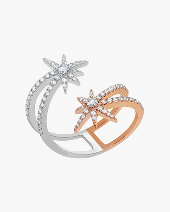 Graziela Gems White & Rose Gold Shooting Starburst Ring 1