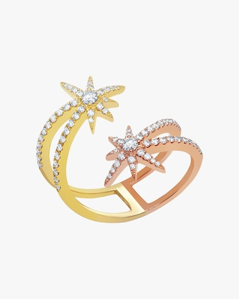 Graziela Gems Yellow & Rose Gold Shooting Starburst Ring 1