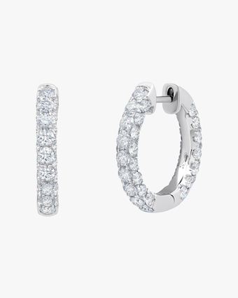 Graziela Gems Diamond Three-Sided Hoop Earrings 1